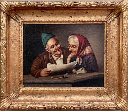 Antique Oil Painting on board, elderly couple reading a newspaper, Unsigned