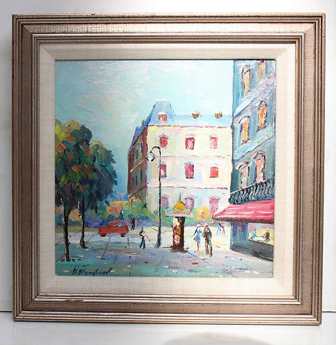 Vintage oil painting on canvas panel, European street scene signed framed