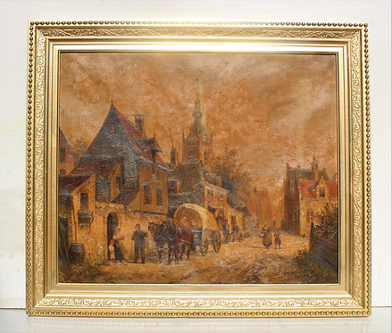 19 cent. Antique oil painting on canvas, Old Amsterdam, signed, dated 1888
