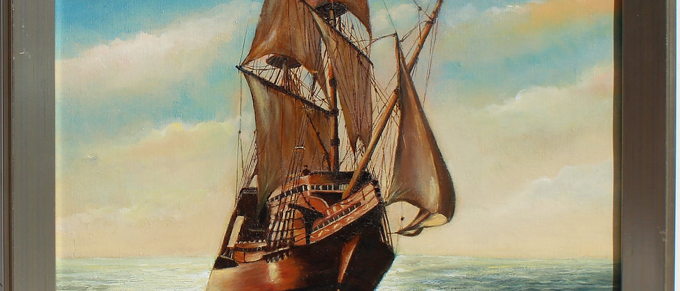 Vintage 1969 Oil painting on canvas, seascape, Sailing ship in the ocean, Signed