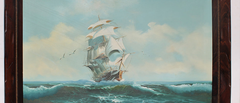 Large Framed Oil painting on Canvas, Galleon at Sea, Signed Wilson