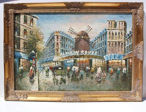 Large Vintage oil painting on canvas, cityscape, Paris, Moulin Rouge, Gild Frame