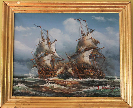 J.Harvey Oil painting on canvas, Ships Battle, Signed, Framed