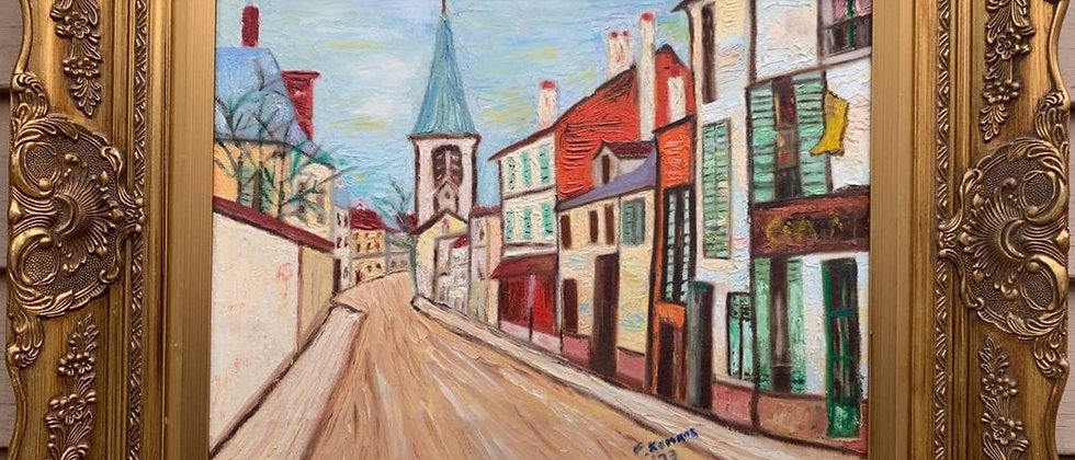 Vintage 1973 oil painting on canvas, Old Cityscape, Signed F.Komros , framed