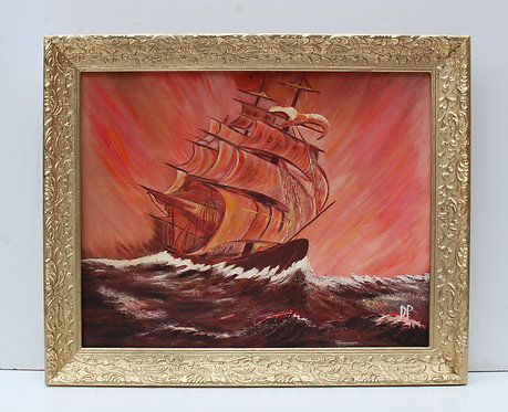 Vintage oil painting on board, seascape,Clipper ship, Sunset, Signed, framed