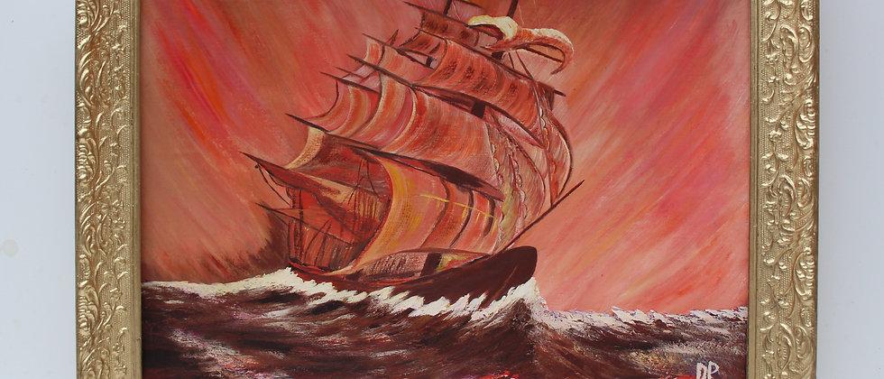 Vintage oil painting on board, seascape,Clipper ship, Sunset, Signed, framed