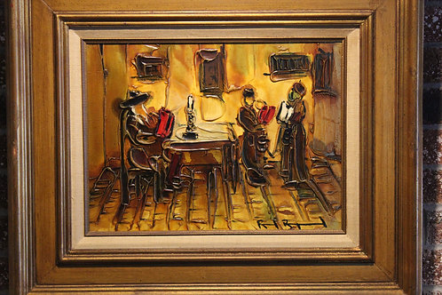 Rare unique Original Oil on Canvas Painting Listed Israel Artist Raoul Raymond