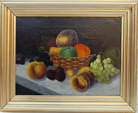 Antique oil painting on canvas, Still life, fruit, Framed, Unsigned