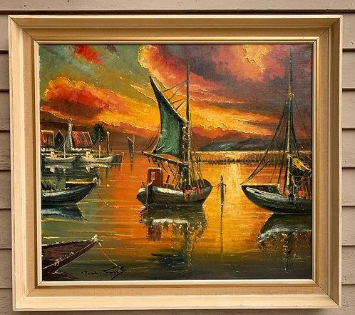 Vintage Danish Artist Oil painting on canvas, seascape, Sunset, Signed