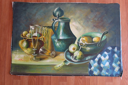 Vintage Still Life oil painting. Canvas only!!! Signed