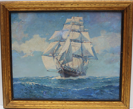 Antique Oil painting on canvas, seascape,Sailing Ship in the High Sea, Framed