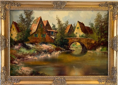 Large Vintage oil painting on canvas, Landscape, Signed, Gild Frame