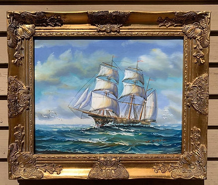 Original Oil painting on canvas, seascape, Sailing Ships, framed, signed