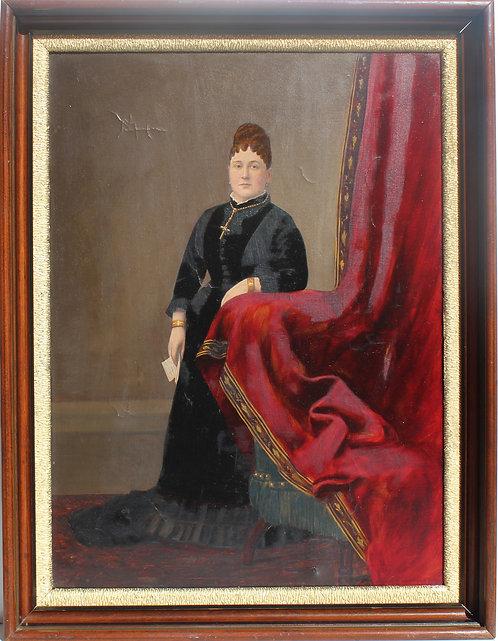Antique 19 century Large Oil Painting on canvas, Female portrait, Dated 1879