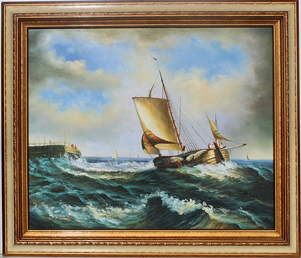 Vintage Oil painting on canvas, seascape, Sailing Ship, Signed, framed