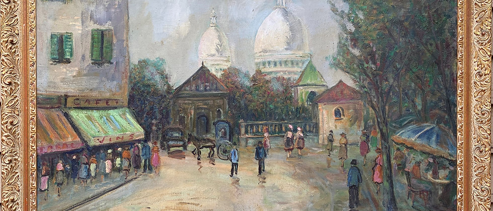 French Artist J,Gaston Large oil painting on canvas Paris, View of Montmartre