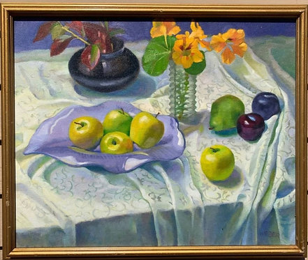 Original Oil Painting On Canvas, Still life, Signed Weber, Framed