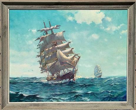 Humberto da Silva Fernandes(1937-2005) Clipper Ship Large Oil Painting on Board