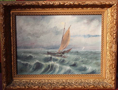 Antique 1893 Oil painting on canvas, original, seascape, Sailing boat, Signed