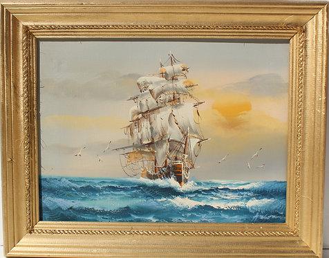 Vintage original oil canvas painting, seascape, Sailboat, Sunset, Signed, framed