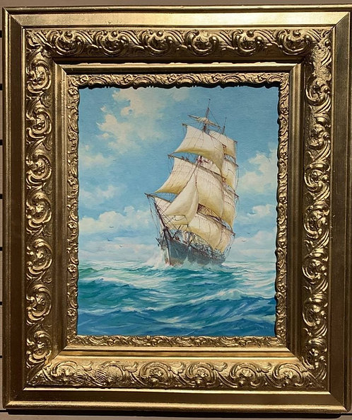 Humberto da Silva Fernandes(1937-2005) Clipper Ship, Oil Painting on Board