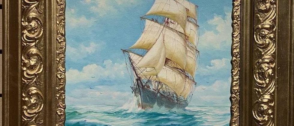 Humberto da Silva Fernandes(1937-2005) Clipper Ship, Oil Painting on Board