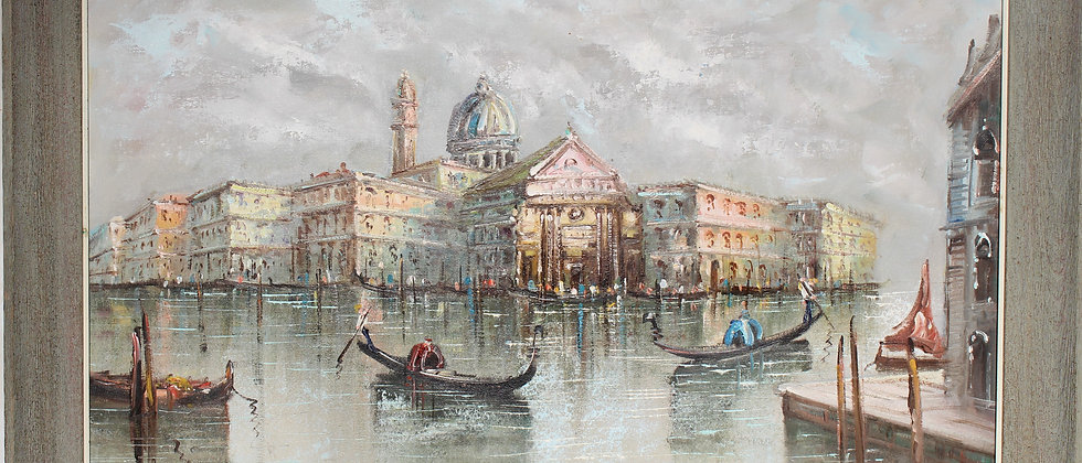 Large oil painting on canvas, Italy, Venice, Grand Canal view, Signed, framed