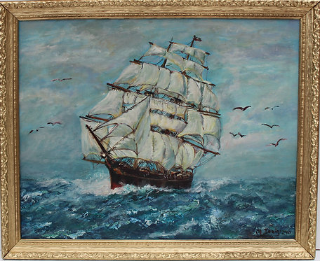 Vintage Oil painting on canvas, seascape,Sailing Ship in the High Sea, Signed