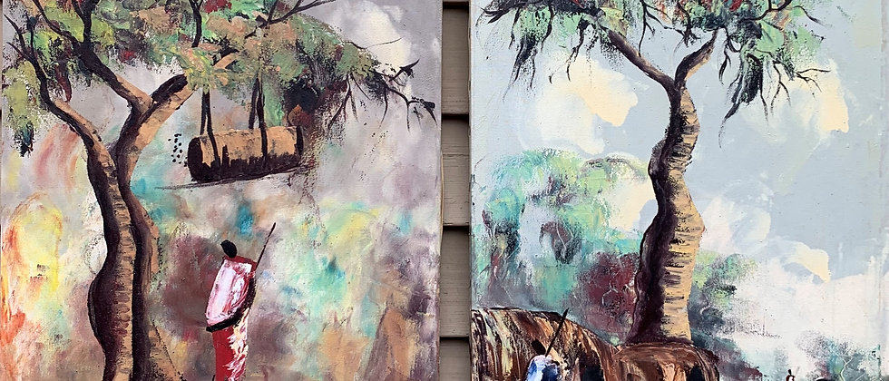 Pair of Vintage African oil on canvas paintings, Villages with figures, Signed