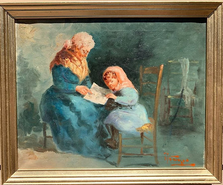 Antique oil painting on canvas, grandmother with granddaughter, signed, framed