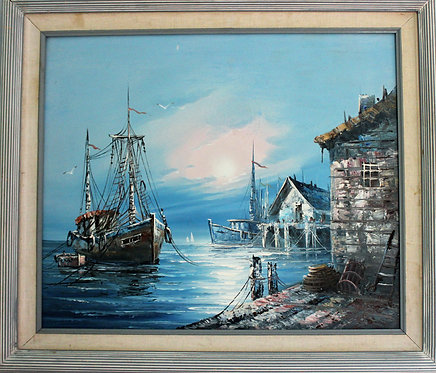 ORIGINAL VINTAGE  OIL PAINTING ON CANVAS SIGNED MARITIME  SHIPS, BOATS, DOCK
