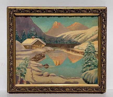 Antique Original Oil Painting on canvas Landscape signed O.Filion, framed