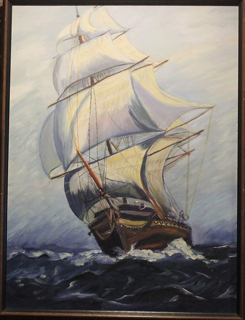 Oil painting on canvas,Sailing ships in the high sea, seascape ,framed