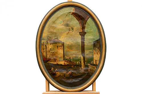 18TH C. Antique OIL ON CANVAS, TONDO WITH RUINS AND FIGURES ON THE SEa