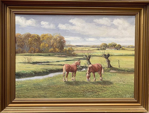 Listed Danish Artist Frederik Ellgaard (1896-?), Horses, oil painting on canvas