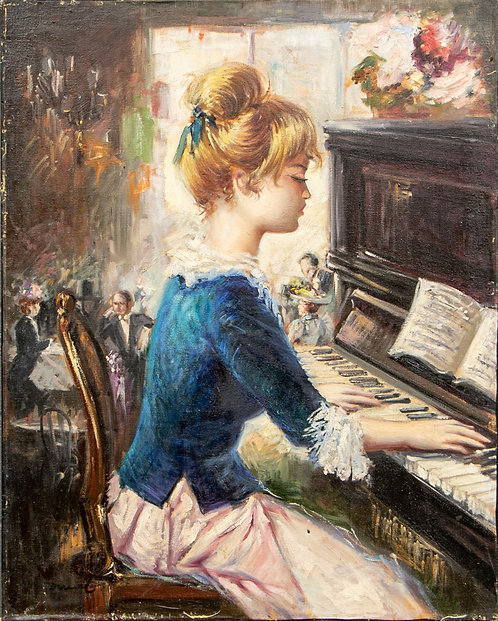 Antique Original Oil Painting on canvas Young woman playing the piano, signed