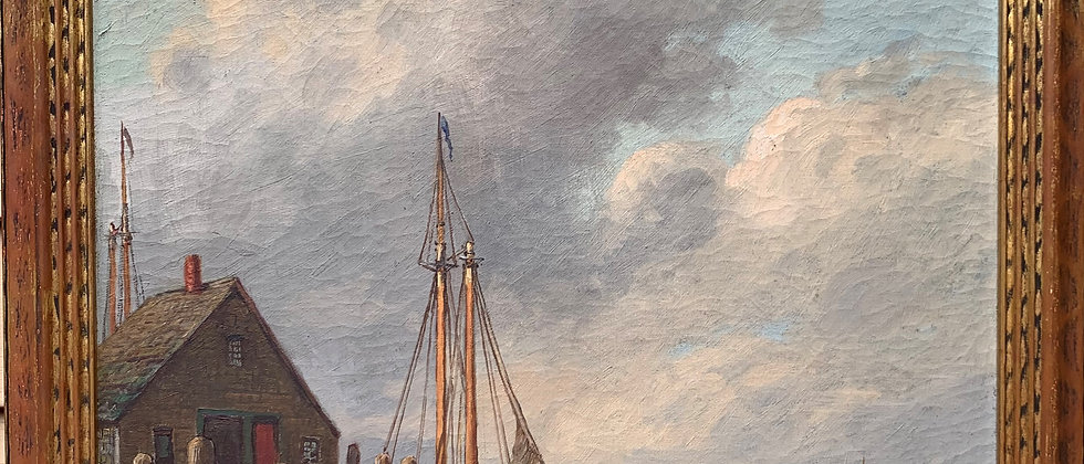 Antique Early 1900'S Oil Painting on Canvas by W.M.Frederico. Seascape, dock