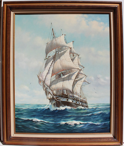 Humbero da Silva Fernandes(1937-2005) Sailing Ship Large Oil Painting on Canvas
