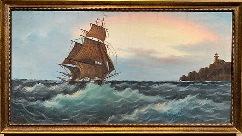 Large Vintage Oil painting on Canvas, Galleon at Sea, Signed, Framed