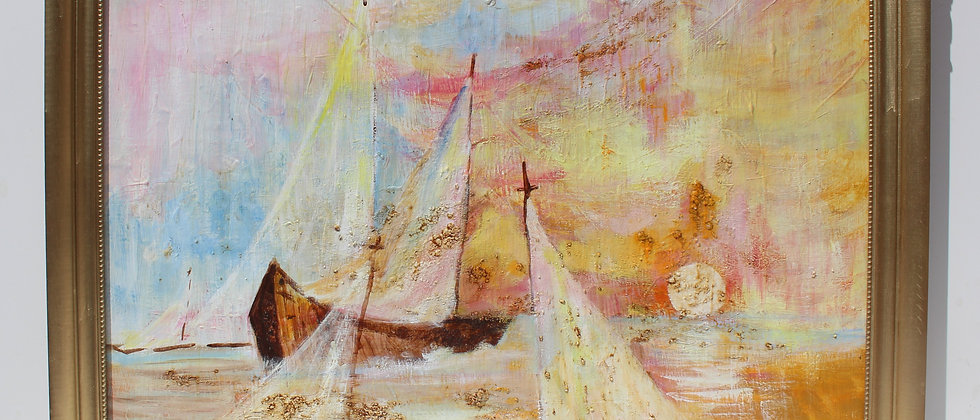 Vintage oil painting on canvas, seascape,Sailing ships on the Sea,Signed Robin