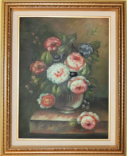Vintage Original Oil on Canvas Floral Still Life Painting Signed By M.AARON