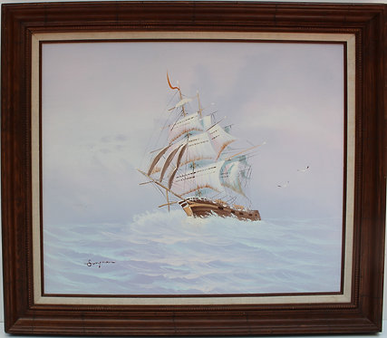 Vintage oil painting on canvas, seascape,Sailing ships on the Sea,Signed Stephen