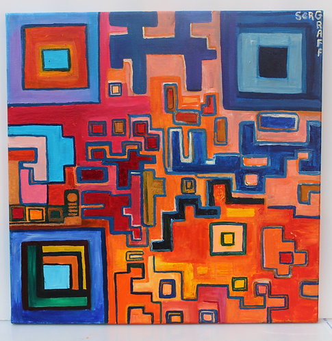 Oil Painting on Canvas, Fantasy Abstract Style, Signed Serg Graff, COA
