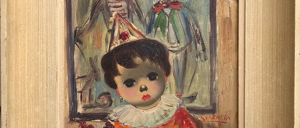 Mid-Century oil on canvas painting Child & Clowns, Signed Svarnera, Framed