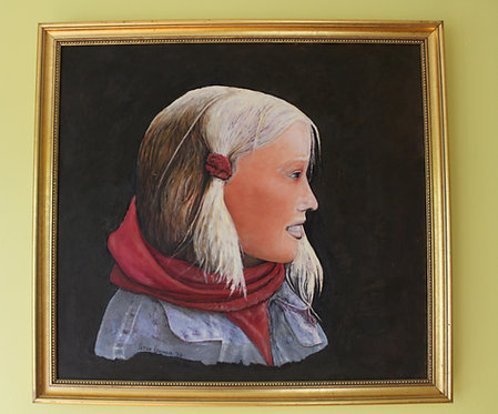 Peter Gouveia Original Oil Painting on Canvas , Portrait unknown young woman