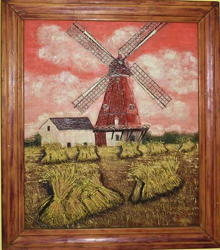 Original Vintage Oil Painting on panel Signed Bianca, framed, Windmill