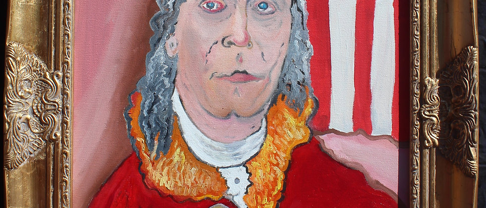 Oil painting on canvas, portrait of Benjamin Franklin signed S.Graff, dated,COA