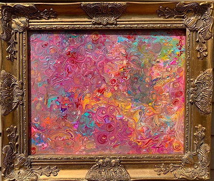 Original Abstract Painting on Canvas , Signed Serg Graff, COA, framed