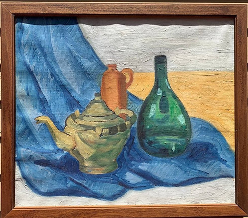 Danish Vintage Still Life oil painting on canvas, Unsigned, Framed