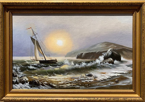 Oil painting on canvas, seascape, Sailing ships on the Sea, Russian Artist Belov
